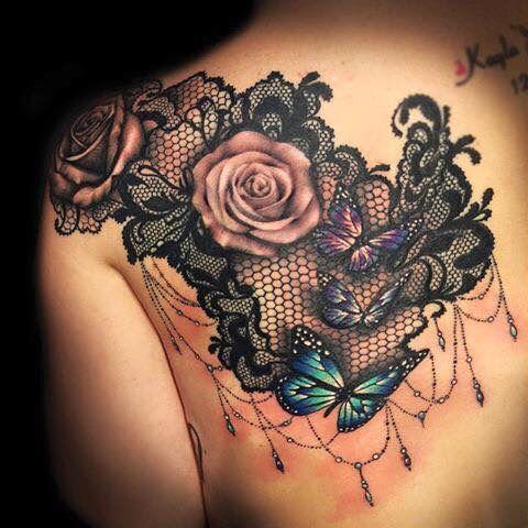 Impressive lace over the shoulder back piece; flower tattoos; back shoulder tattoos; beautiful tattoos; shoulder tattoos; sex tattoos