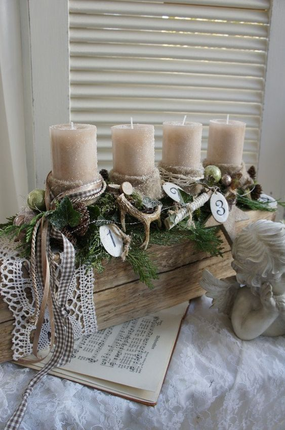 How To Make Christmas Centerpiece Brown Candles; Table Decorations; Christmas Candles; DIY Christmas Centerpiece;Christmas Crafts; Christmas Decor DIY
