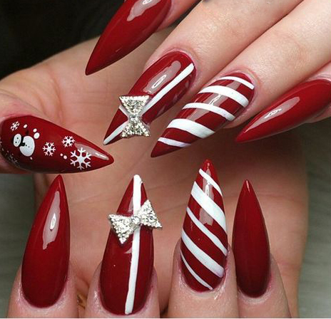 65 Christmas Stiletto Nail Art Ideas; Christmas nail art; Christmas nail art stiletto; simple Christmas nail; Stiletto Nail Art; Red Stiletto Nail; Red Nail Art;