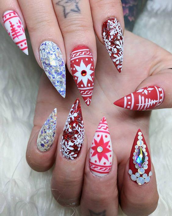 Christmas Stiletto Nails.65 Christmas Nail Art Ideas Sumcoco