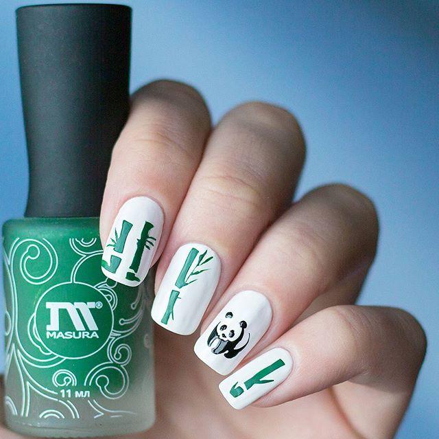 45 Cute Animal Nail Art; Trend Nail art; white nails, panda nails