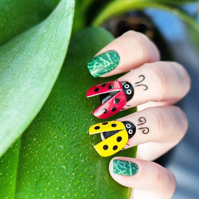 45 Cute Animal Nail Art; Trend Nail art; insect Nails design;