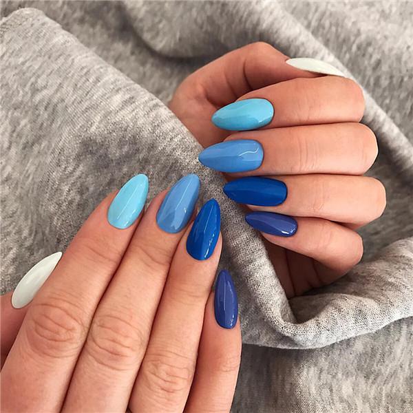 36+ Deep Blue Nail Art Design for Winter Season; winter nails; winter acrylic nails; Christmas nails; winter nail colors; winter snowflake; classy winter nails.
