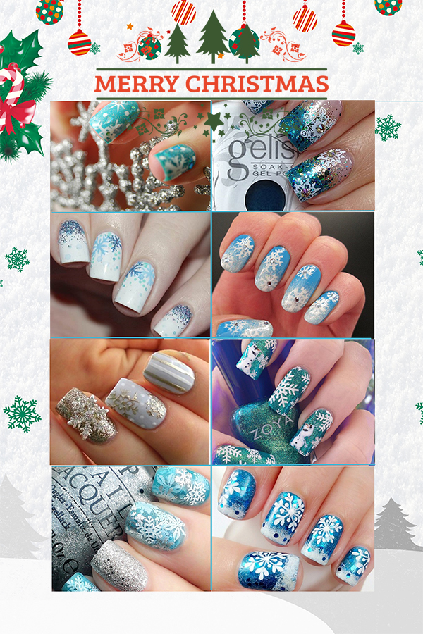 Fashion Snowflake Nail Art Ideas; winter nails; holiday nails;Snowflake; Christmas nails;
