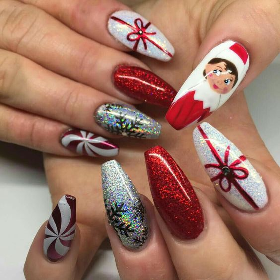 Christmas nail art design; Christmas nail art design stiletto; simple Christmas nail art design.Stiletto Nail Art;Red Stiletto Nail Art; Red Nail Art;