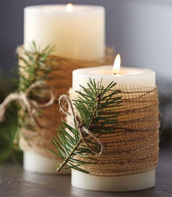 Simple Christmas Candles Decoration ; Table Decorations; Christmas Candles; DIY Christmas Centerpiece;Christmas Crafts; Christmas Decor DIY; Rustic Natural Decoration; Home Decor;