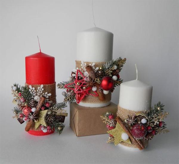 Simple Christmas Candles Decoration ; Table Decorations; Christmas Candles; DIY Christmas Centerpiece;Christmas Crafts; Christmas Decor DIY; Rustic Natural Decoration; Home Decor;
