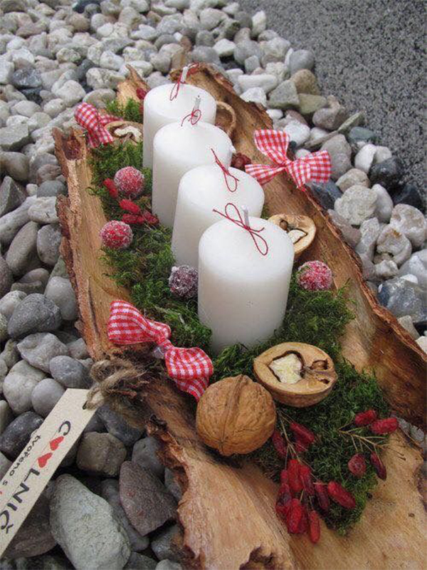 Rustic Natural Winter Decoration; Table Decorations; Christmas Candles; DIY Christmas Centerpiece;Christmas Crafts; Christmas Decor DIY