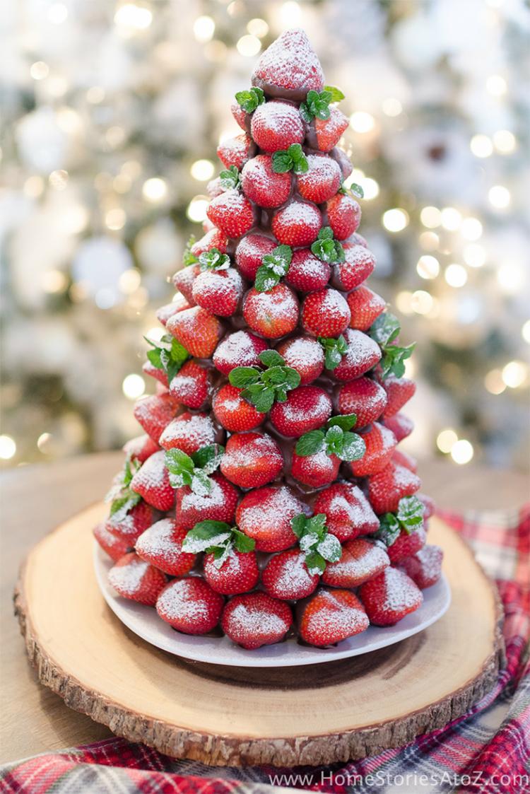 Christmas Chocolate Tree; DIY Fruit Christmas Tree; Christmas Food; Christmas Recipe #SUMCOCO