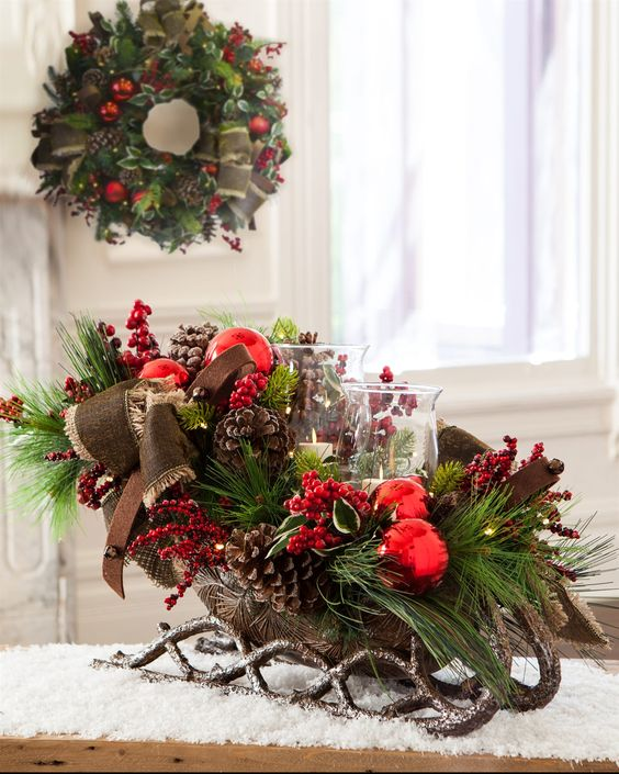 Christmas Decorations; Table Decorations; Christmas Decorations; DIY Christmas Centerpiece;Christmas Crafts; Christmas Decor DIY; sleigh Decorations