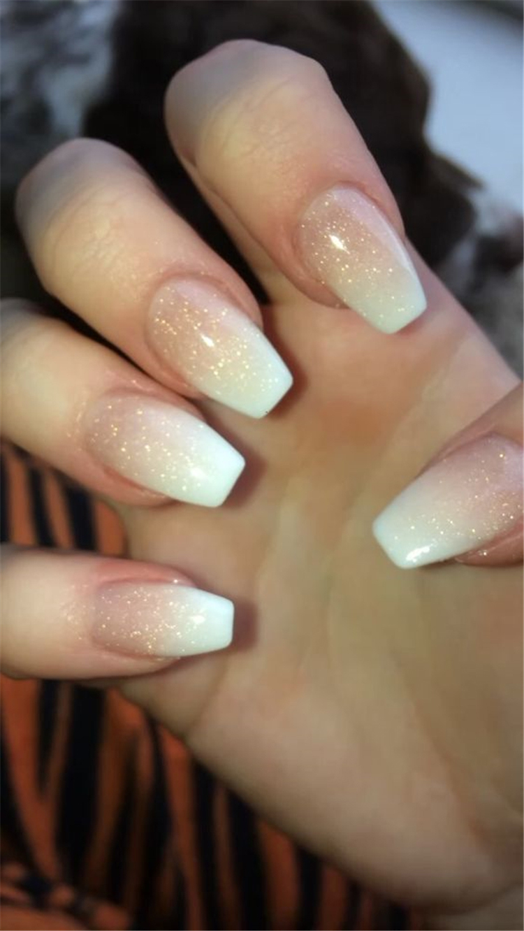 20 French Fade With Nude And White Ombre Acrylic Nails Coffin Nails