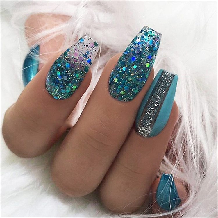 Blue Glitter Coffin Nails; Long coffin nails; Coffin Nails; Acrylic Nails; Long Nails; winter nails; Glitter nails; Nails art; nails design; Marble Nails; #Sumcoco