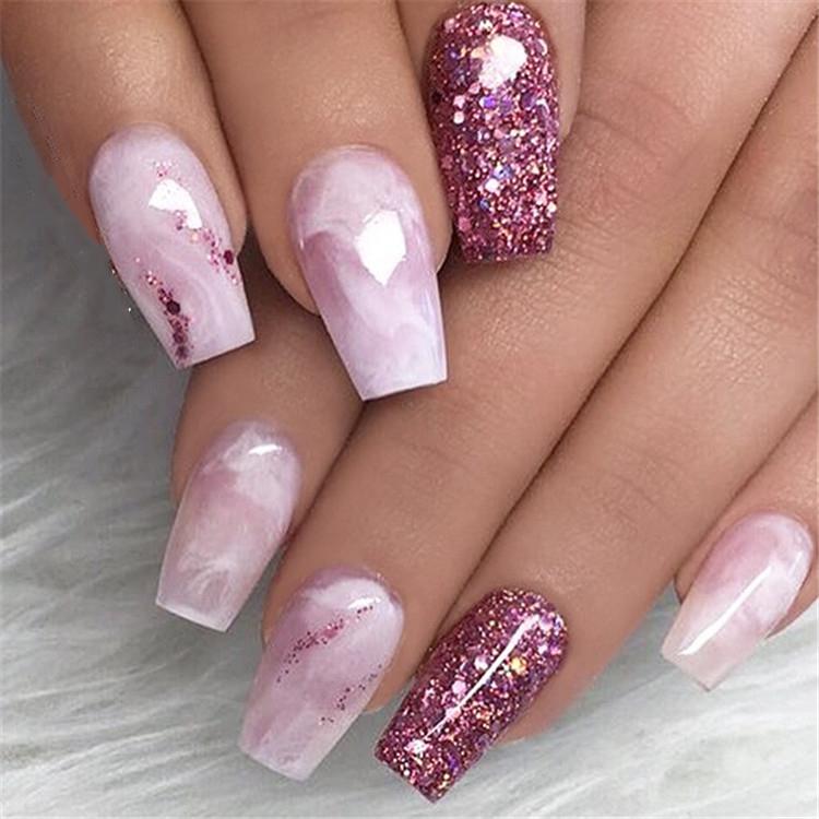 Purple Glitter Coffin Nails; Long coffin nails; Coffin Nails; Acrylic Nails; Long Nails; winter nails; Glitter nails; Nails art; nails design; #Sumcoco