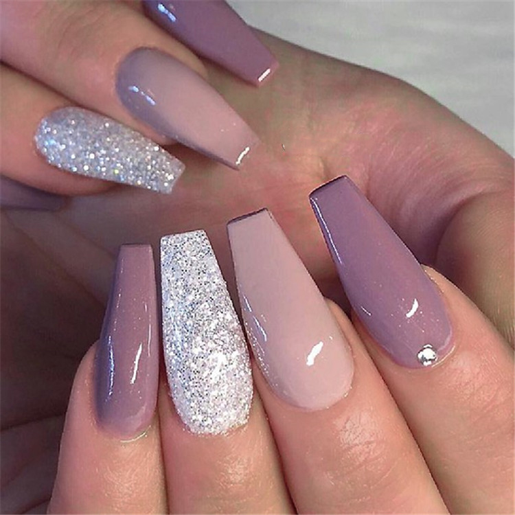 30+ Elegant Purple Glitter Coffin Nails Inspirations +Tips