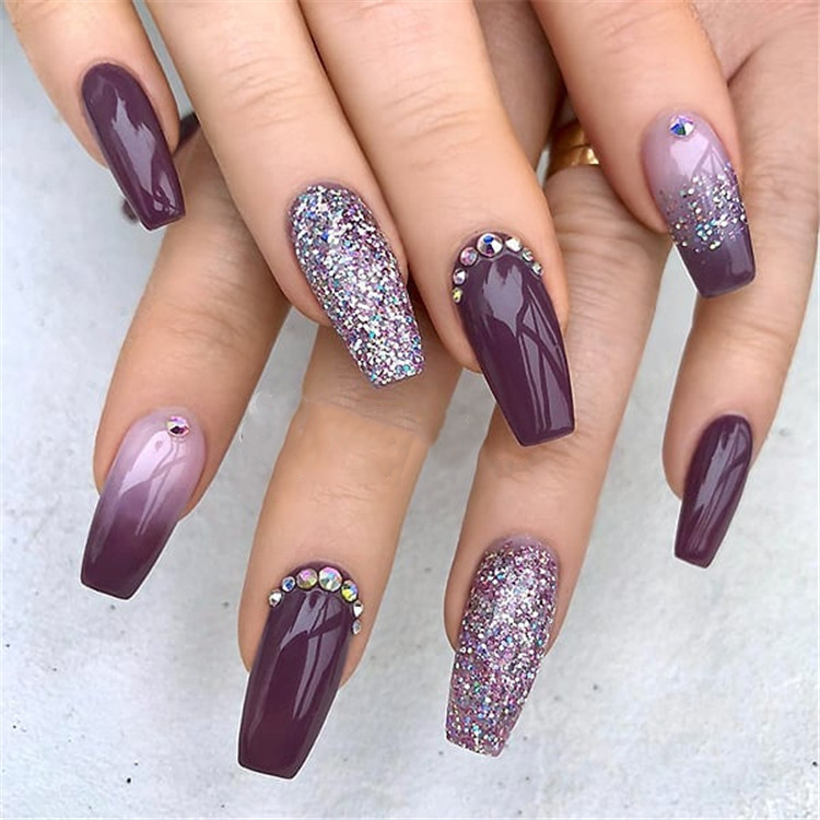 Purple Glitter Coffin Nails; Long coffin nails; Coffin Nails; Acrylic Nails; Long Nails; winter nails; Glitter nails; Nails art; nails design; #Sumcoco