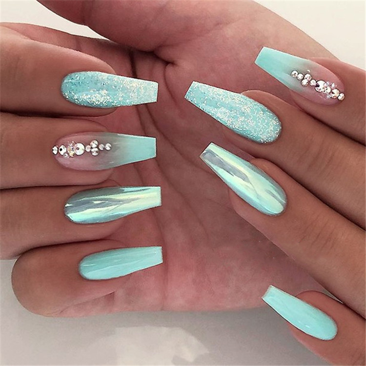 70+ Attractive Acrylic Green and Blue Glitter Coffin NailsTo
