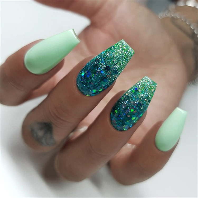 70 Attractive Acrylic Green And Blue Glitter Coffin