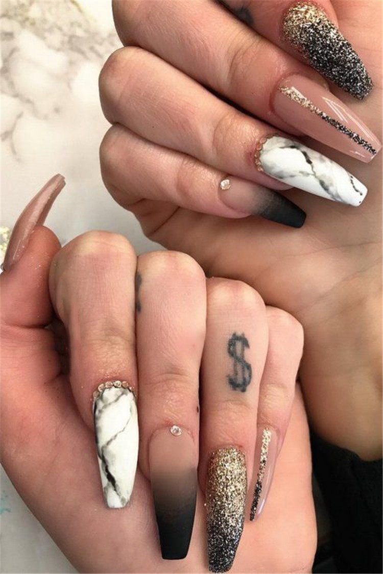 20+ Trendy and Attractive Marble Coffin Nails Design Sumcoco
