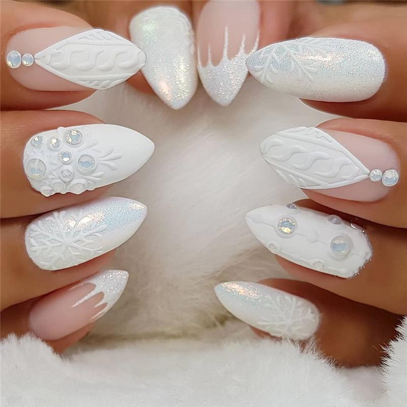 Cute Macaron Colors Stiletto Nails Designs; Cute Stiletto Nails; Stiletto Nails; Acrylic Nails; Winter Nails; Snowflake Nails; Christmas Nails; Snow Nails;