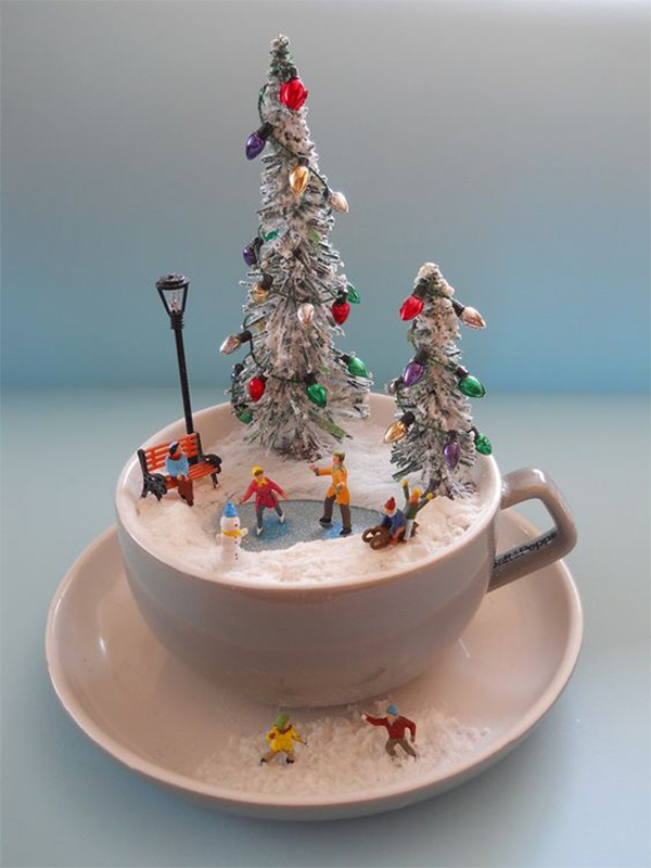 Christmas Scene in Teacup; Table Decorations; Christmas Candles; DIY Christmas Centerpiece;Christmas Crafts; Christmas Decor DIY; Christmas Tree