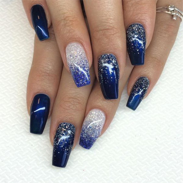 Long Blue Coffin Nails; Coffin Nails; Long Nails; Winter Nails; Blue Nails; Glitter Nails; Nails Art; Nails Design;