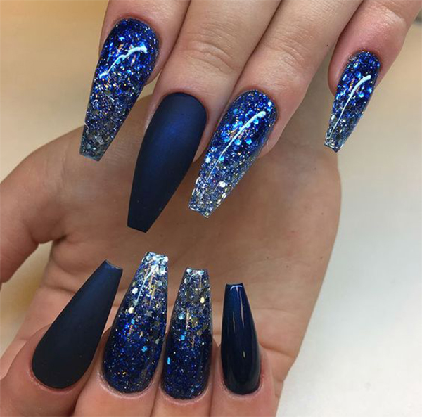 10 Long Blue Coffin Nails You Need to Try Right Now Sumcoco
