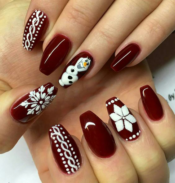 Christmas Coffin nails;Coffin nails;Christmas nails;Long nails;red nails;Nails Art;holiday nails;nails design;coffin nails trend;snowflake nails; snowman nails;