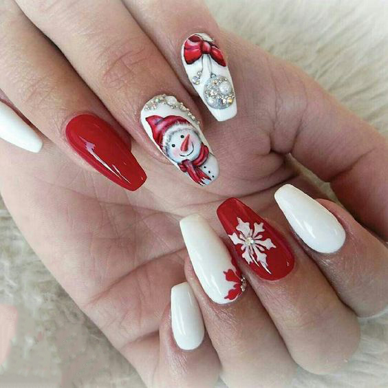 Christmas Nails Designs Coffin: 16+ Classic And Traditional Easy Red Coffin Christmas