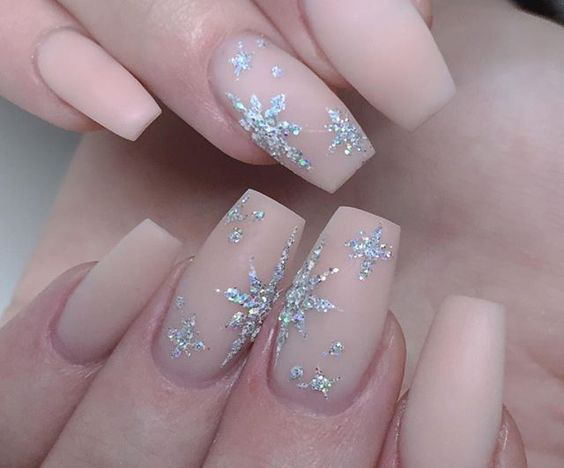 Coffin Nails Long Christmas Winter Snowflake Pink