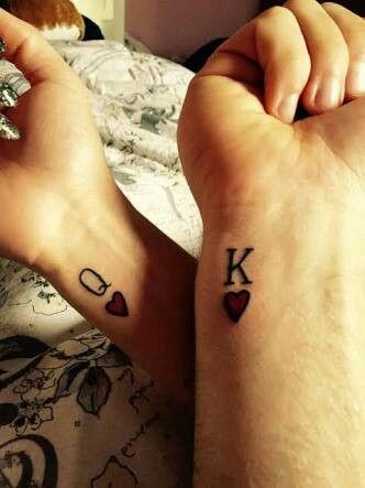 Matching Couple Tattoos Ideas--His & Hers King And Queen Tattoo, couple tattoo ideas, couple tattoos, matching couple tattoos,