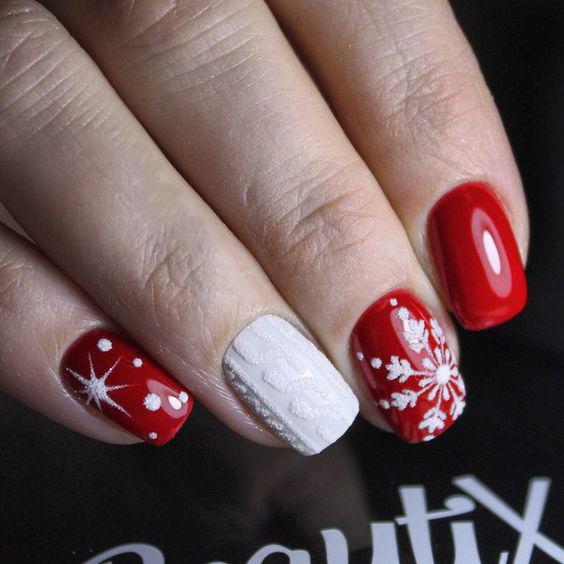 Christmas Nails;holiday nails;Square Christmas Nails;Square Nails;Snowflake Nails;Red Nails;Nails art; Nails Design;