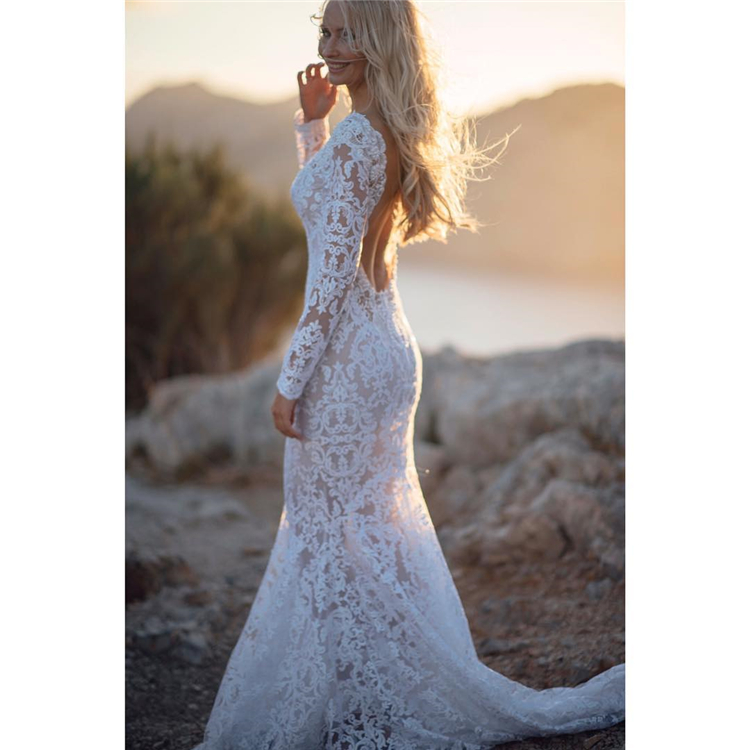 Sexy wedding dress; Open-back wedding dresses; white wedding dresses; sexy wedding dresses; elegant wedding dresses; romantic wedding;