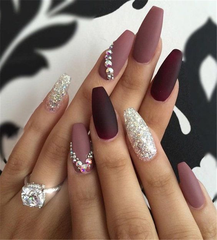 Top 10 2019 Burgundy Coffin Nails Matte Nails Sumcoco