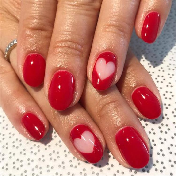 #Valentine'sDaynails; red nail art designs; pink nails; heart nails; acrylic nails.