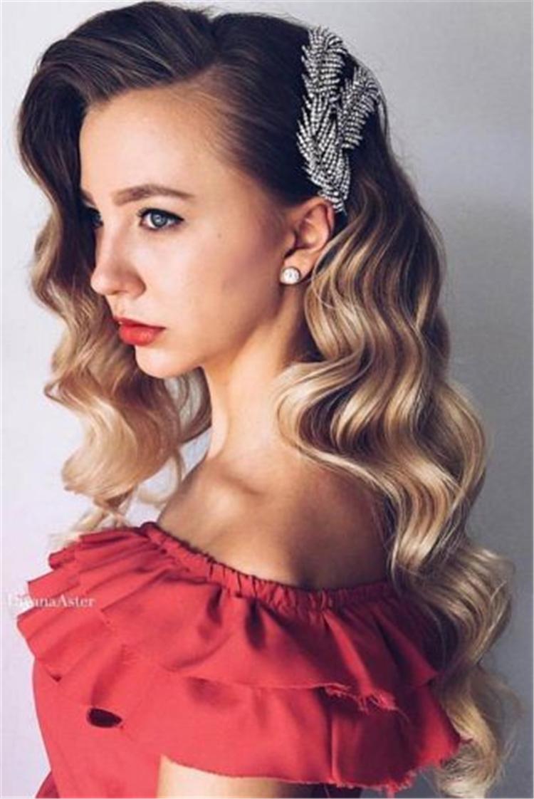Wonderful Long Hairstyles For Wavy Hair; Long Hairstyles;Beautiful Wavy Styling; Half-Up For Wavy Hair;Updo Hairstyles For Wavy Hair