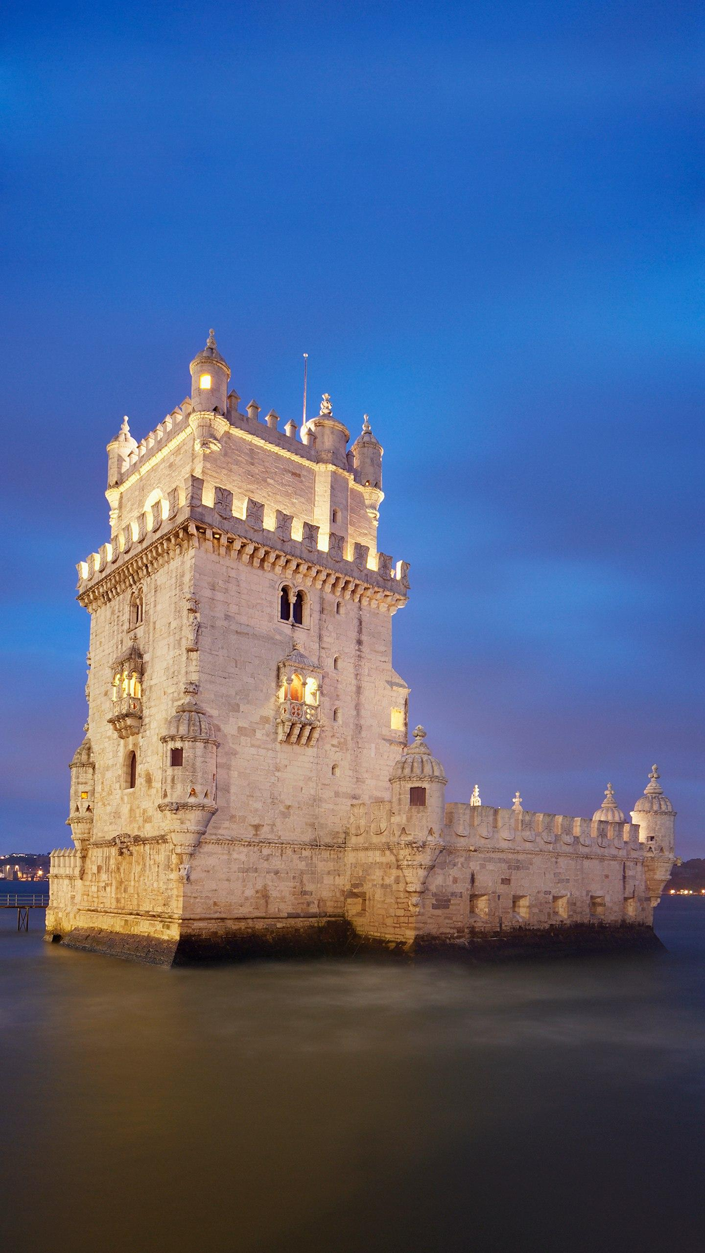 Lisbon - Belém Tower. Shaped like a bunker, all built with limestone, it is the most gorgeous and elegant building in Lisbon's countless monuments.