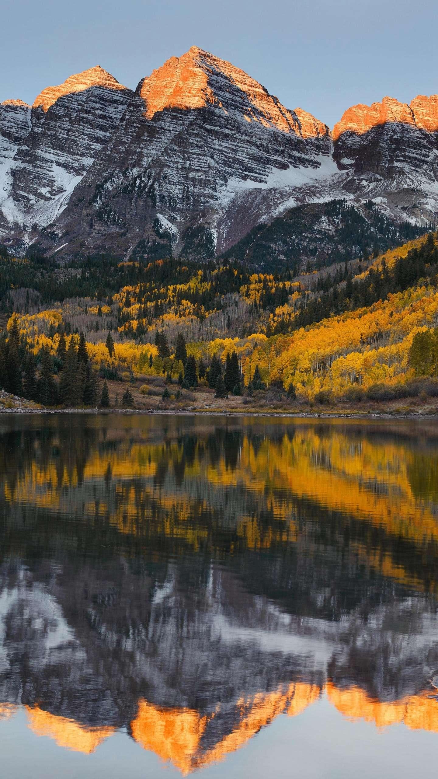 Colorado, USA. At sunrise, when the sun dyed the peaks of the red-brown bells, there was a resurgence of rejuvenation.