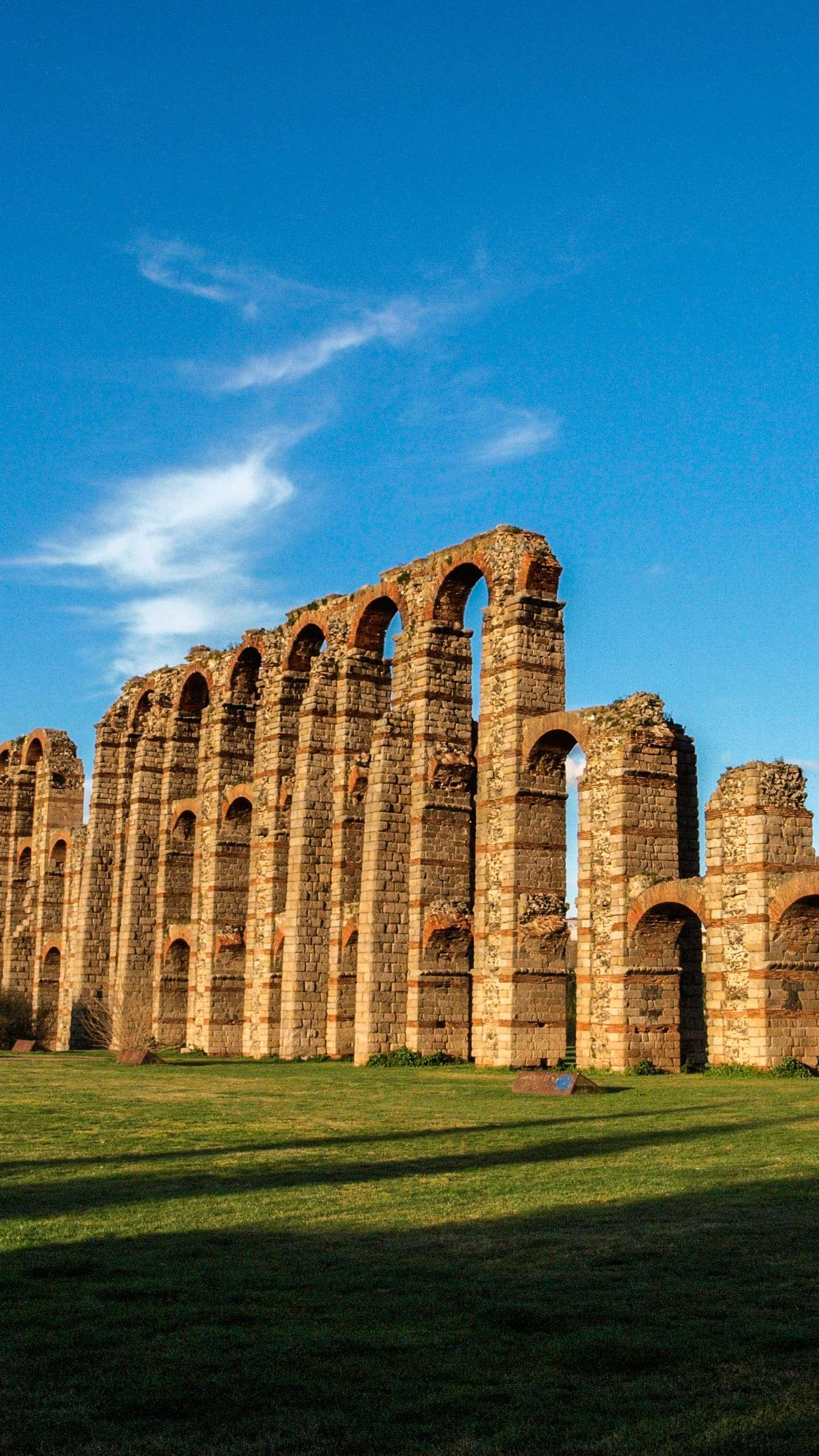 Spain - Merida. One of the most beautiful ancient Romanesque cities in Spain, built by the Romans at the time.