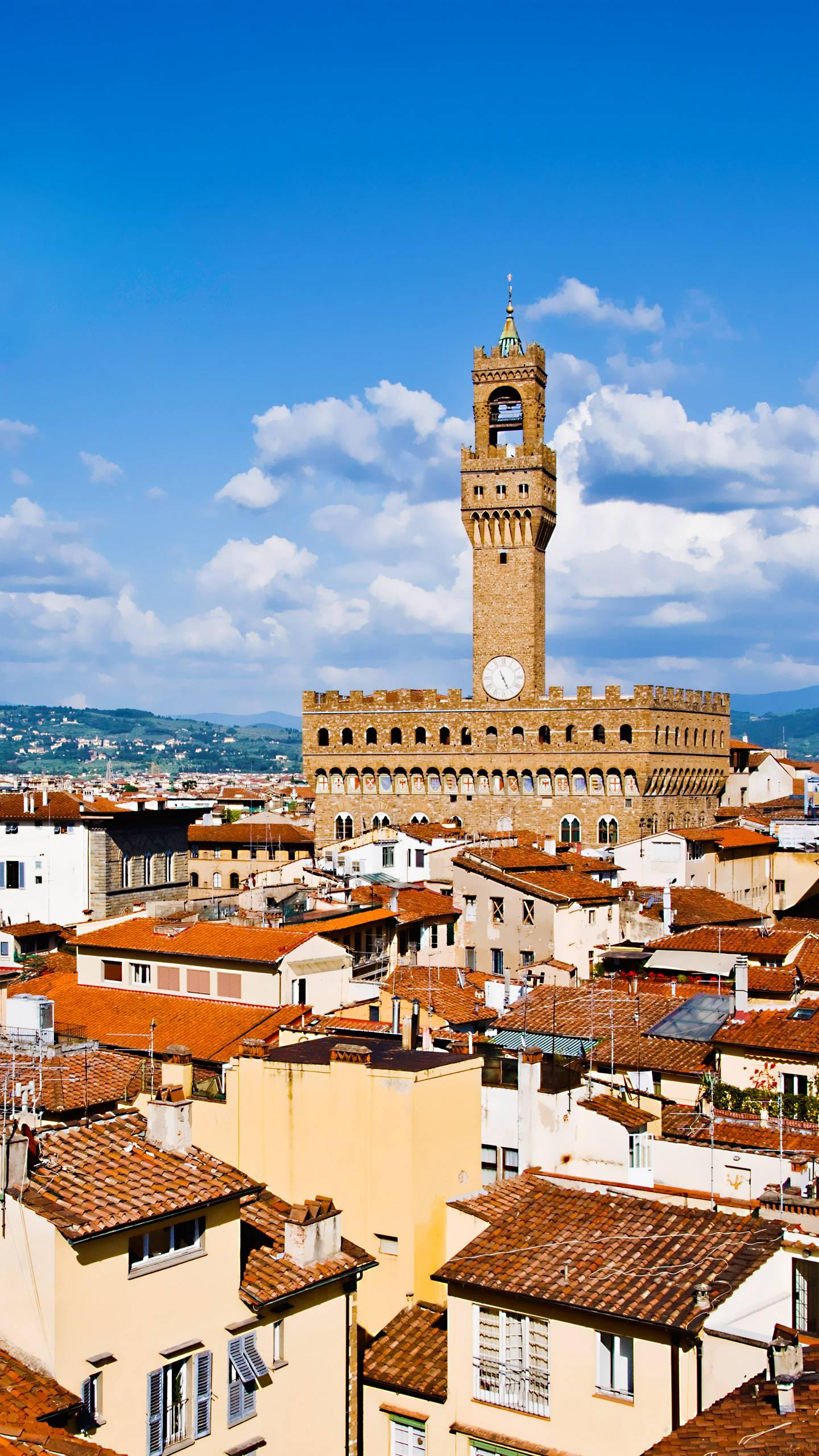 Italy - Florence. The urban area still maintains the pattern of the Roman period, and many medieval buildings are world-famous cultural and tourist destinations.