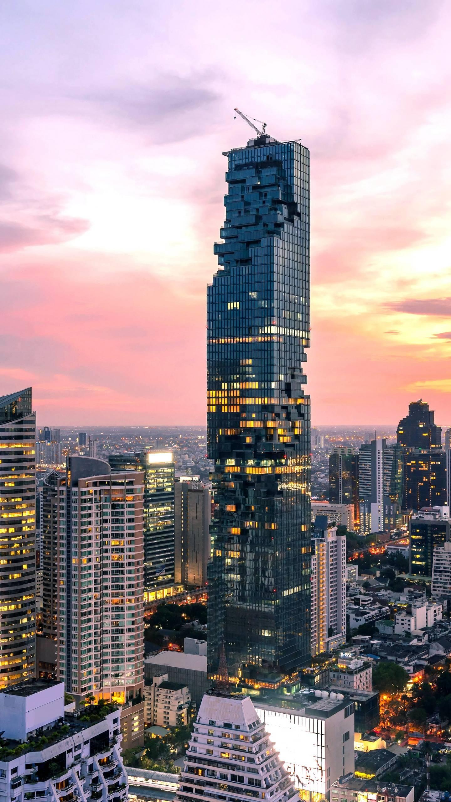 "Bangkok ""Corn Building"". The 77-story skyscraper has become the tallest building in Thailand, and the pixelated exterior design has been dubbed the ""corn building""."