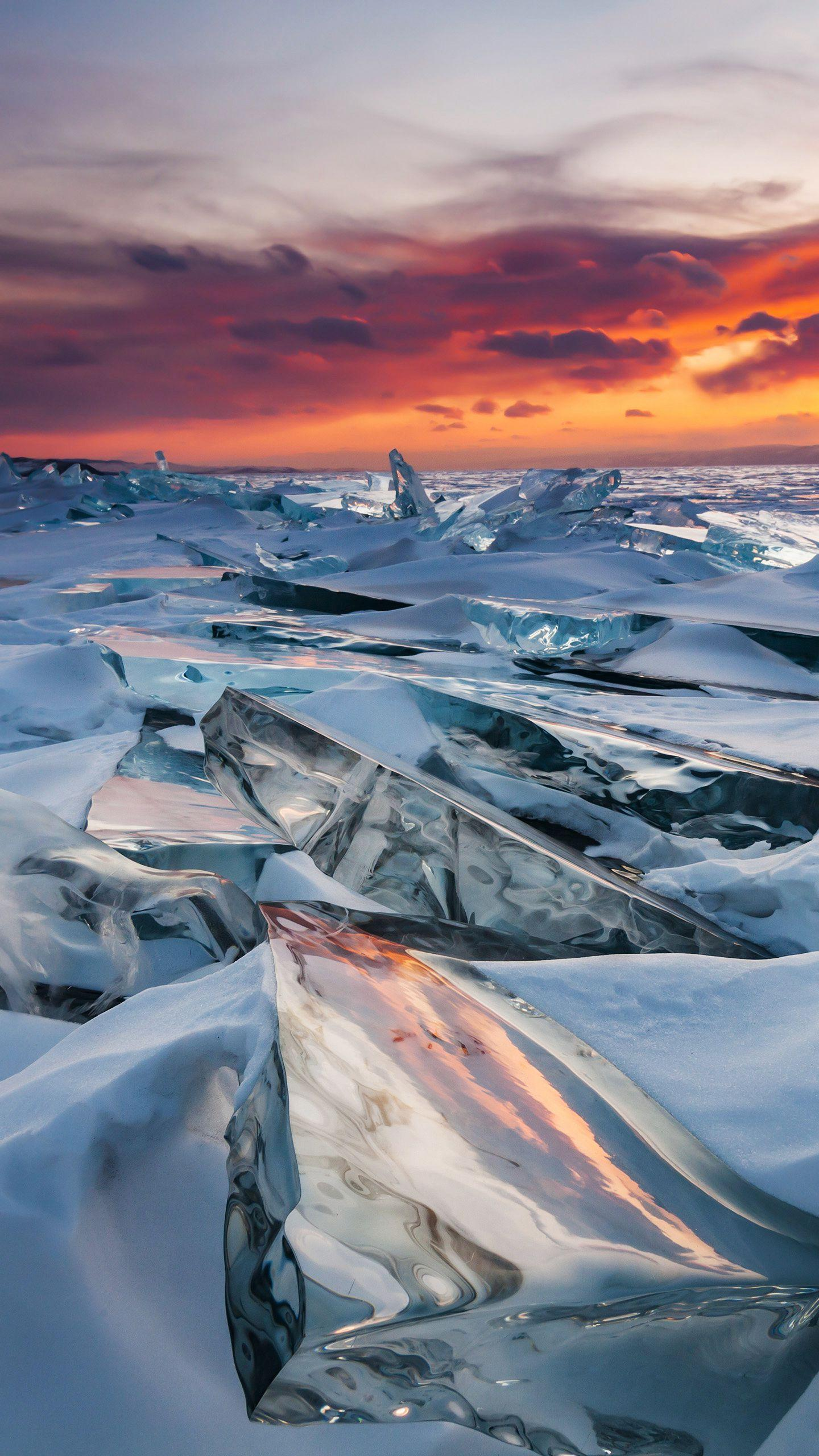 Russia - Lake Baikal. The criss-crossing cracks of the lake, the rolling ice ridges, and the majestic Lake Baikal in winter are amazing.