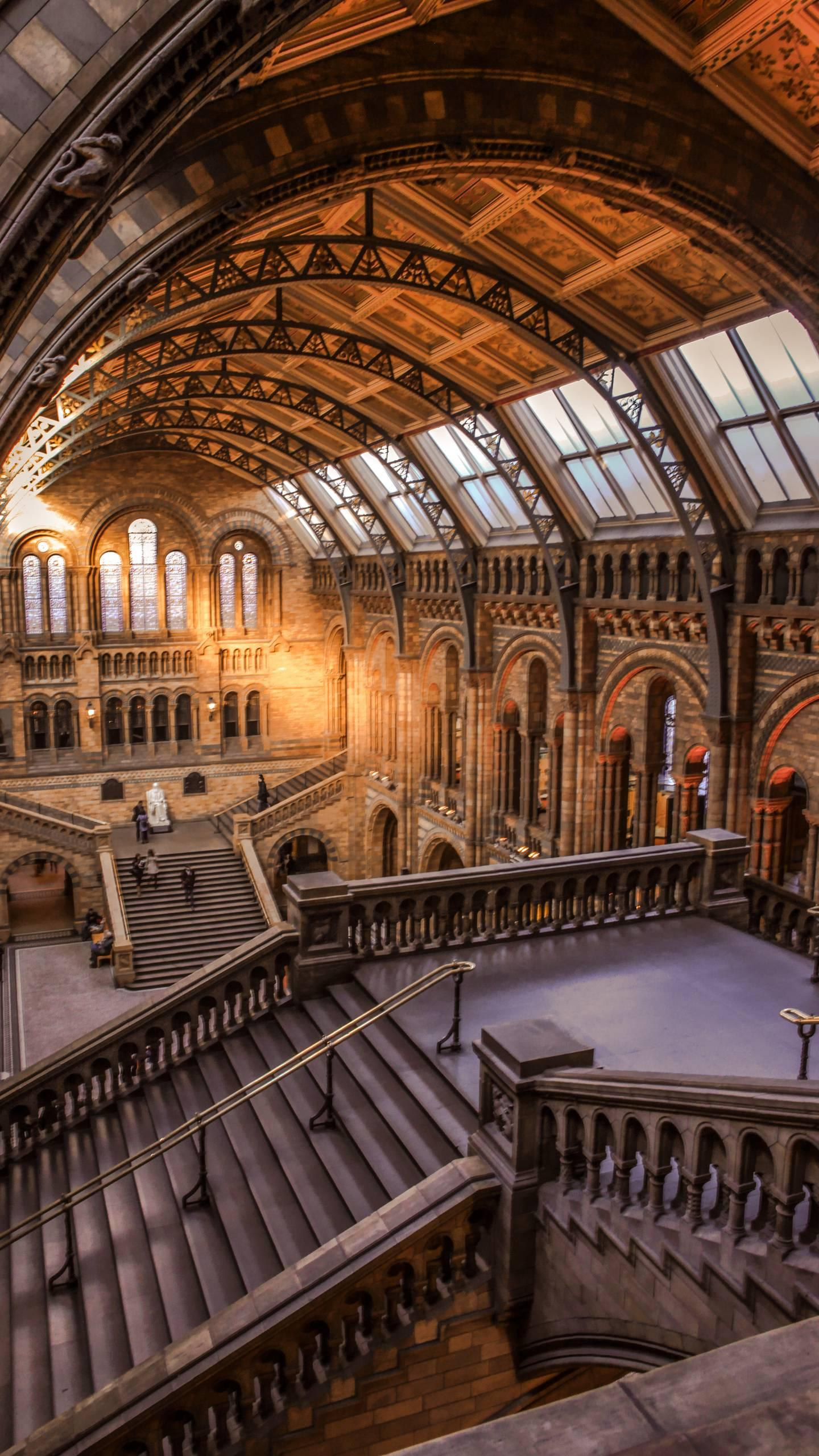 British Museum of Natural History. Located in the South Kensington area of London, it is a Victorian building resembling a medieval cathedral.