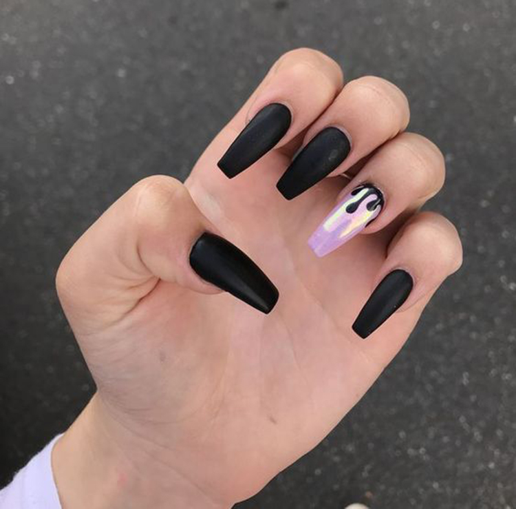 70 Matte Black Coffin Nail Ideas Trend In Cool 2019 Sumcoco Blog