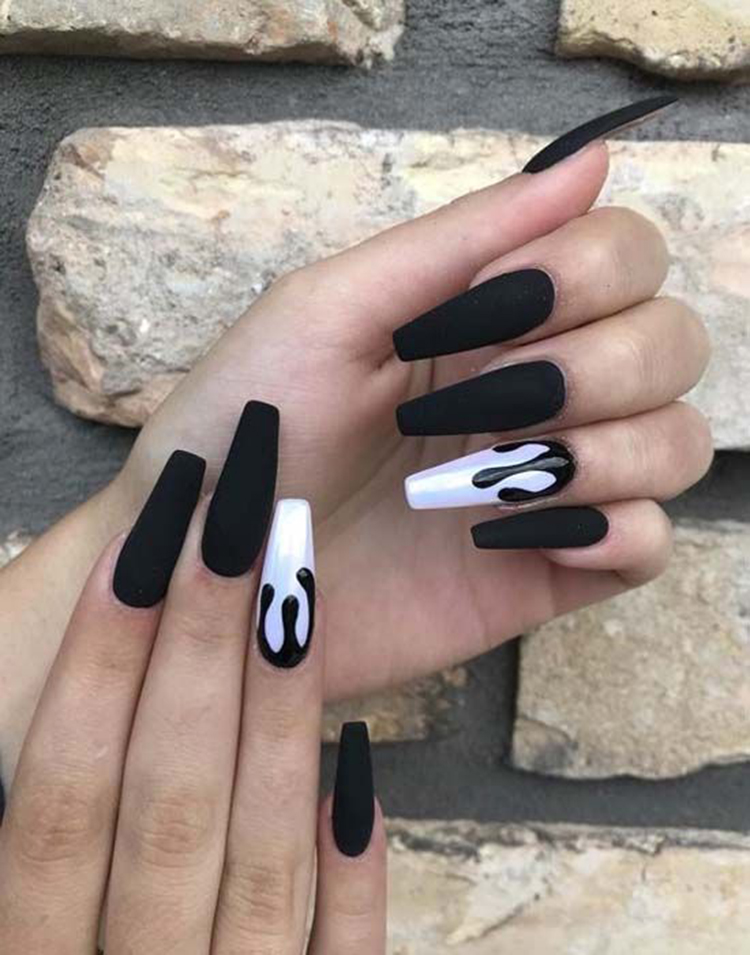 70+ Matte Black Coffin Nail Ideas Trend in Cool 2019