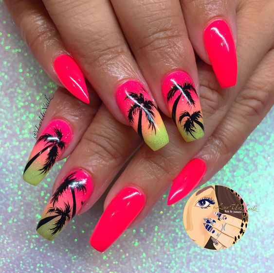 Perfect Palm Tree Coffin Nail Ideas In Hot Summer, Palm Tree Nails, Coffin Nails, Acrylic nails, Summer Nails,