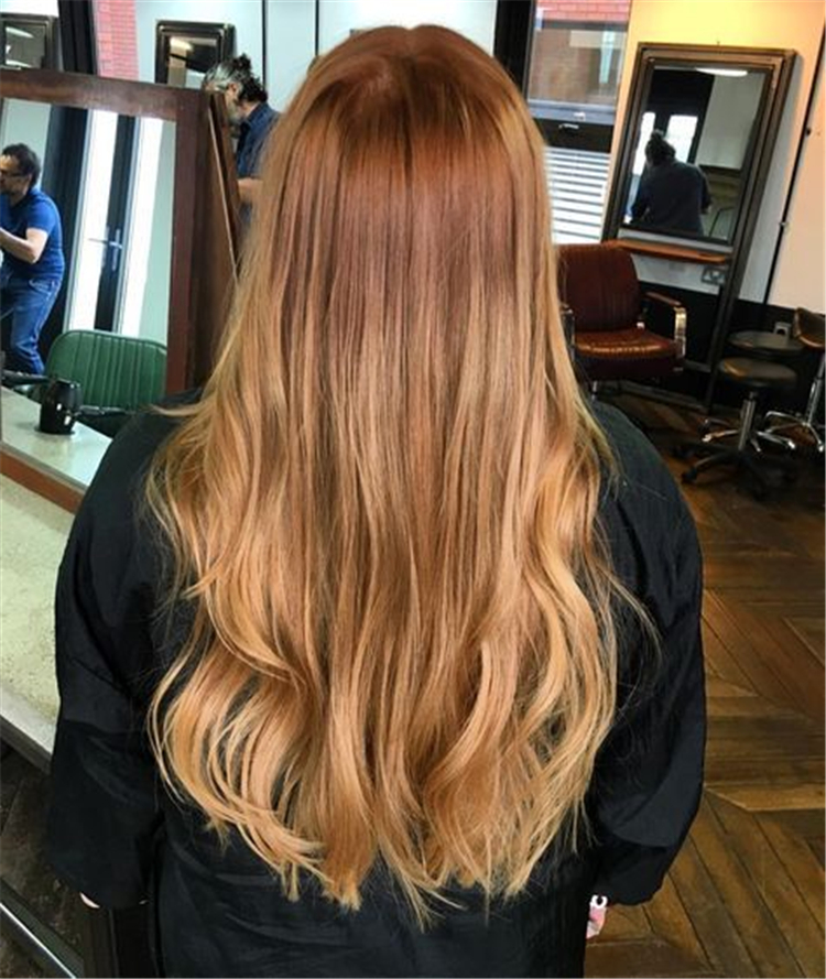 2019 Trendy Wild Fashion Strawberry Blonde Hair Color; Trendy hairstyles and colors 2019; Women hair colors;