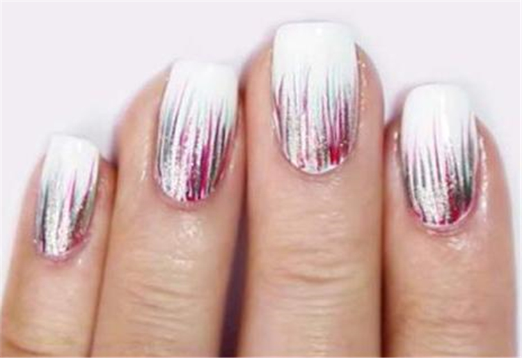 Waterfall Nails, Ombre Waterfall Nails Accent,Holographic Waterfall Nail Art, Waterfall Nails Step By Step Tutorial, Ombre Nails