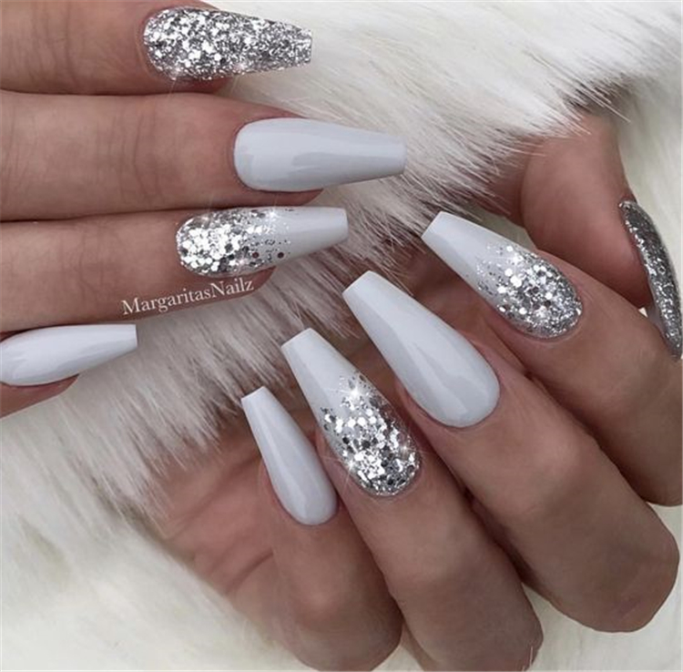 20 Elegant Long White Coffin Nail Ideas