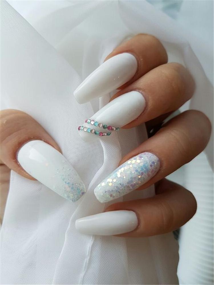20+ Elegant Long White Coffin Nail Ideas, Coffin Nails, Acrylic nails, Summer Nails, White Coffin Nail,