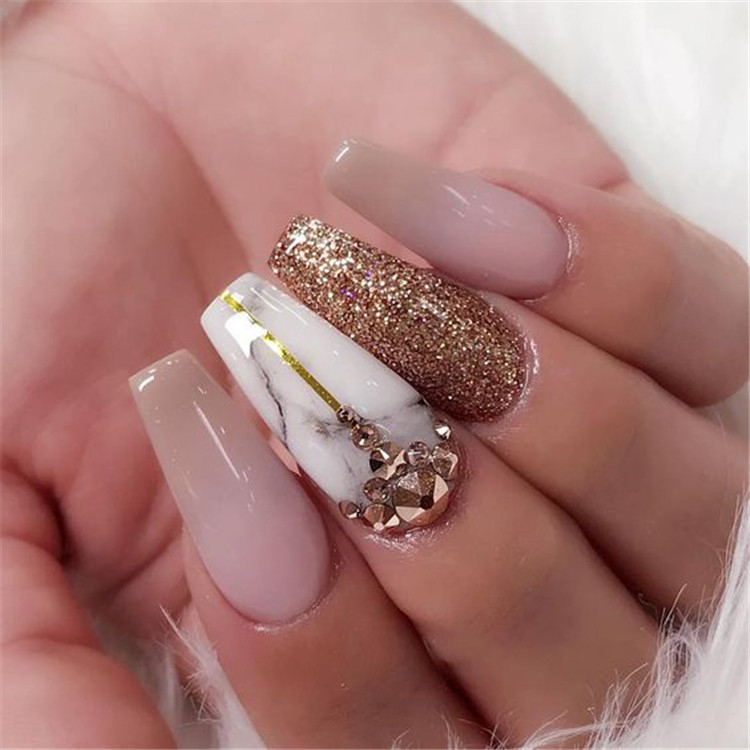 2019 hot fashion coffin nail Trend ideas, Long Coffin nails Inspirations; Nails acrylic; Nails Spring;#coffinnails